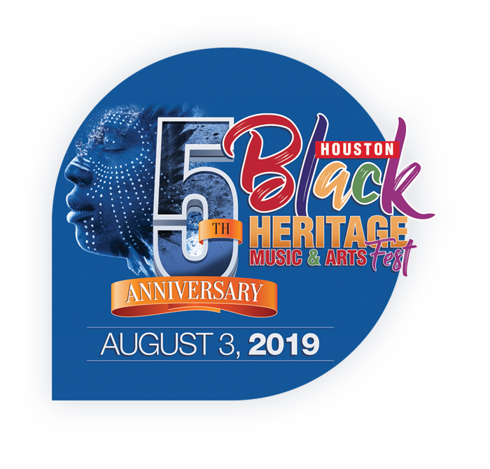 Houston Black Heritage Music & Arts Festival 5 Year Anniversary Logo