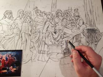 """It's a Fine Life"" Drawing in Process by Cliff Carson"