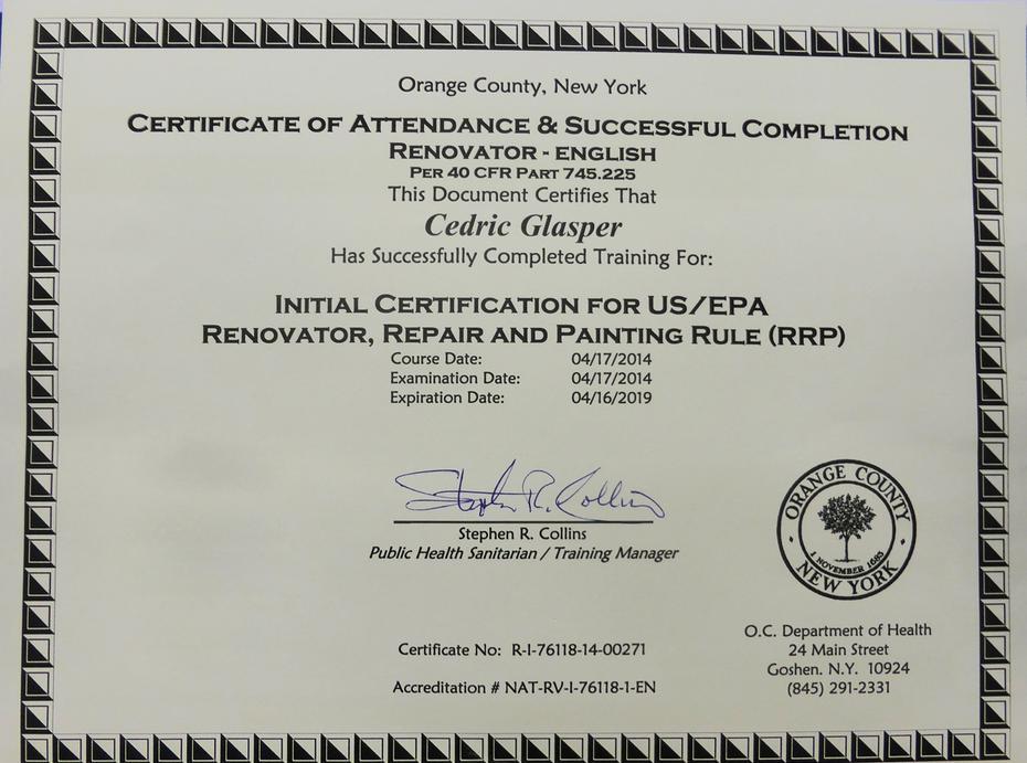 Renovator Repair Painting Rule Rrp Certification