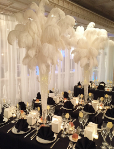 Centerpiece Rental Flowers Ostrich Feathers Crystals Candelabras