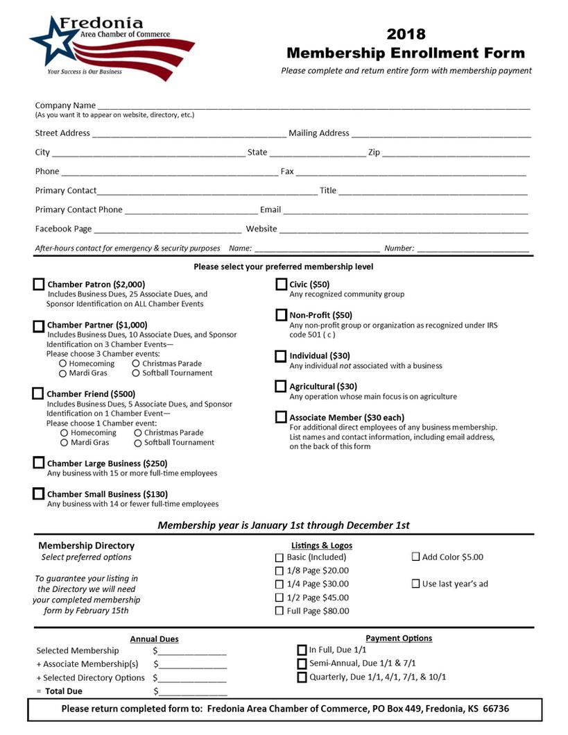 2018 Membership Enrollment Form