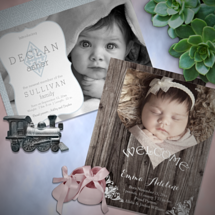 baby shower invitations and accessories, photo and non photo birth announcements, baptism invitations and first holy communion invitations, and nursery accessories