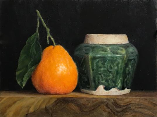 Mandarin orange still life with chinese ginger jar