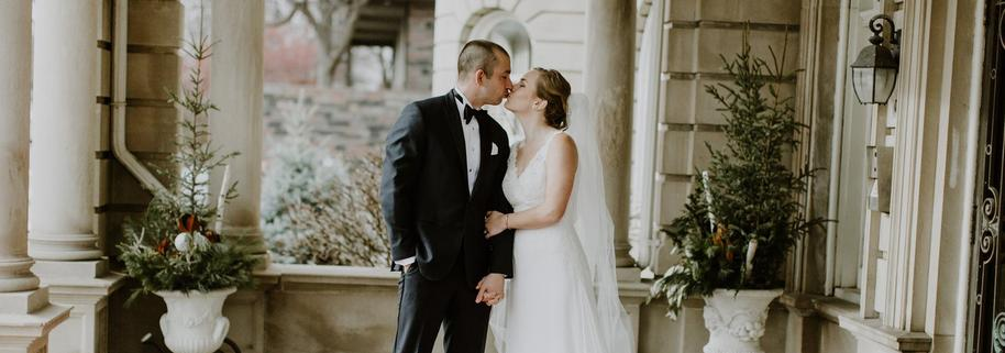 A First Look Kiss on A Minneapolis Wedding Day at the Semple Mansion