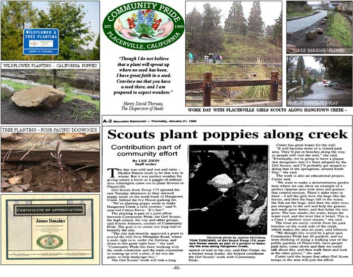 Hangtown Creek Poppy Seeding Earth Day Placerville Community Pride Volunteers Archives Josette Johnson http://www.josettejohnson.com