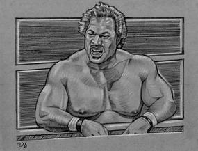 RON SIMMONS Colored pencil drawing by CLIFF CARSON