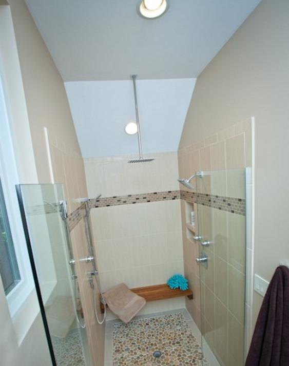 Zero step entry into this beautiful custom shower stall