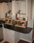 kitchen cabinet pull-down shelving over ADA height kitchen countertop
