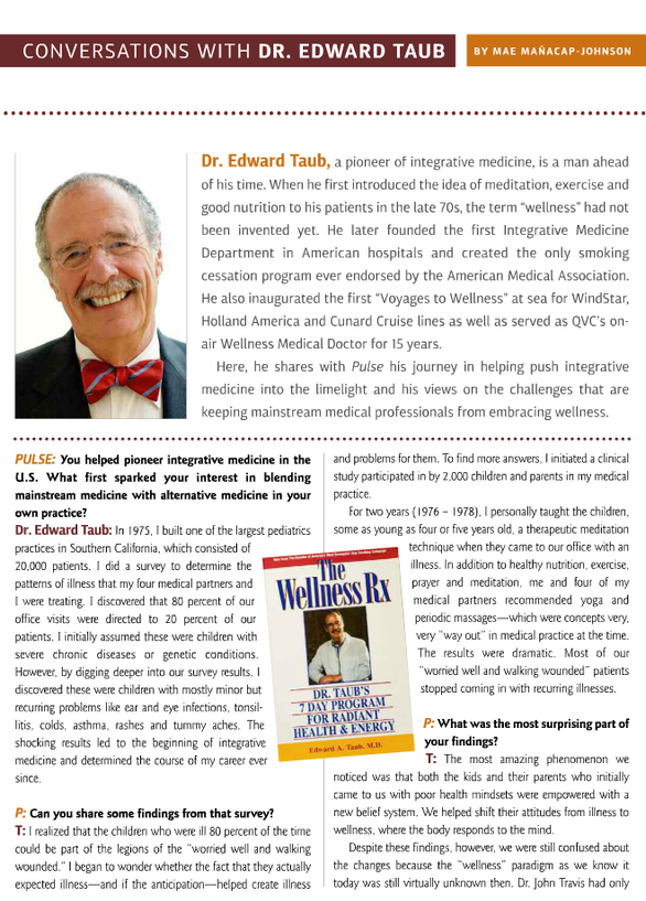 TRAVEL WISDOM BY EDWARD TAUB MD PUBLISHED IN SPIRITUALITY & HEALTH MAGAZINE