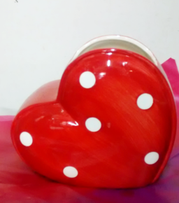 Red Polka dot Heart Vase | Artificials and Vases