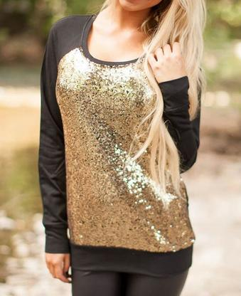 Black Gold Glitter Sweater