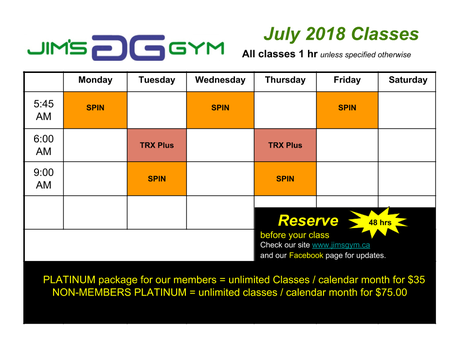 Fitness Class Schedule for July 2018