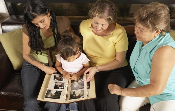 Women sharing family history with child