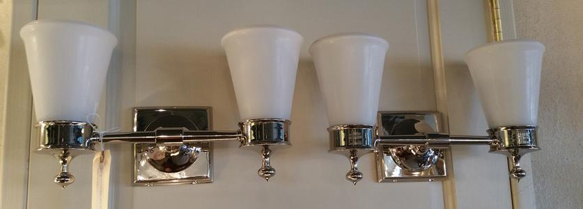 New nickel chrome pair 2 arm electric wall mount sconces fixtures with glass shades white