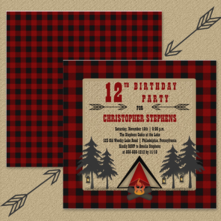 Rustic Camping Birthday with a Burlap and Red and Black Buffalo Checks Background and a tent among the trees