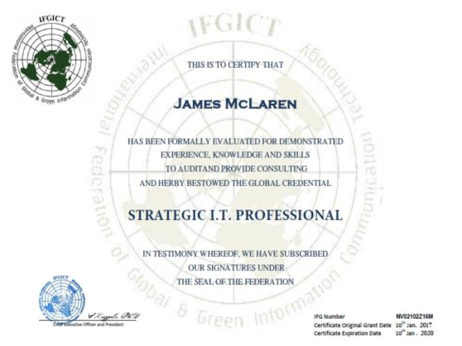 SITP Certification Strategic IT Professional IFGICT