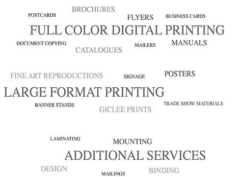 Fine are reproductions, signage, posters, trade show materials, laminating, mounting, design services, mailing services, binding