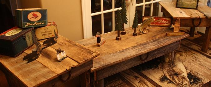 Beautiful Early Century Reclaimed Barn Wood Rustic Horseshoe Coffee Table  With Matching End Tables Set - Barn Wood