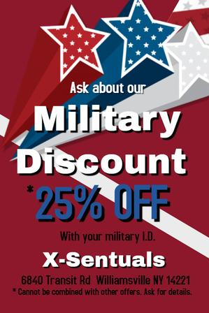 Military Discount 25% off adult products, lingerie at Xsentuals adult store in Buffalo NY