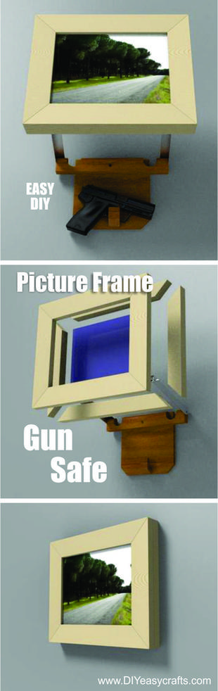 How to build a Picture frame Hidden Gun Safe. Easy DIY project. www.DIYeasycrafts.com