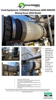 Stationary ADM MM250 Mixing Drum 2010 Model