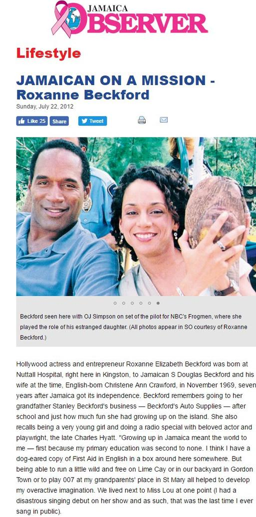 Roxanne Beckford in the Jamaican Observer