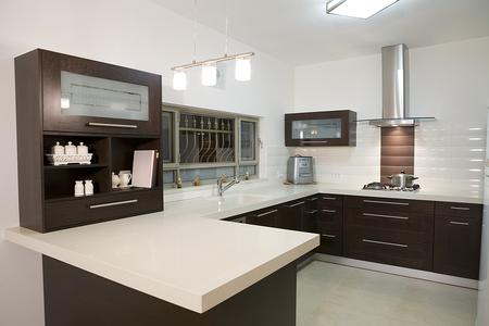 Modern kitchen with quartz counter
