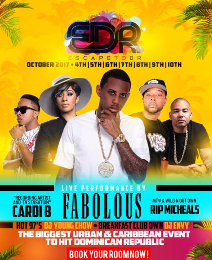 edr, escap to dr, columbus weekend, miami carnival, dominican republic