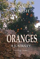 Image of an ORANGES tree hanging over a wall. Blue sky.