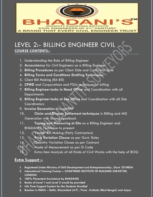 BHADANIS BILLING ENGINEER CIVIL