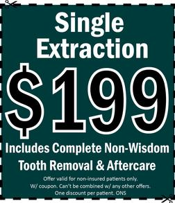 149 tooth extraction coupon