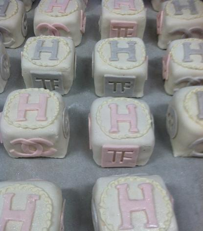 baby blocks, baby shower, alphabet, Flondant Pettit Fours