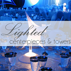 rent lighted centerpieces and feather towers