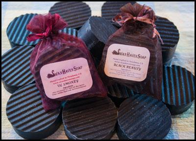 Swan Haven Soap near Petaluma CA makes all natural hand-crafted soaps and bath products including Ol' Smokey and Black Beauty Activated Charcoal soaps