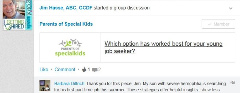 LinkedIn group member's comments about how Jim Hasse article helped her son.