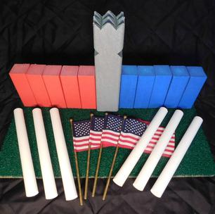 www.kubb.games plastic colorful kubb sets made in the USA - Swedish game - viking game - fun game - new game - plastic kubb - wood kubb - Classic Plastic Kubb - red blue gray