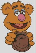 Cross Stitch Pattern Chart of Muppet Fozzie Bear holding hat