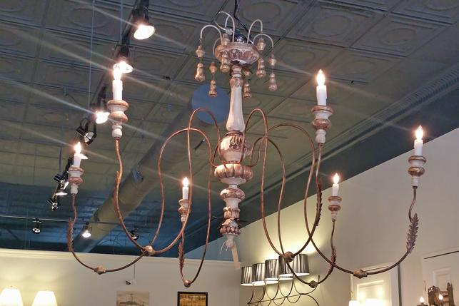 Large Aden Grey wooden distressed chandelier new cieling fixtures 6 arm