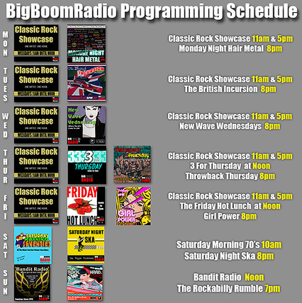 BigBoomRadio Program Schedule