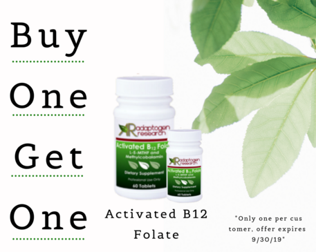 Buy One Get One Activated B12 Folate , by Adaptogen Research
