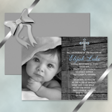 rustic faux wood with vintage cross baby boy photo baptism invitations