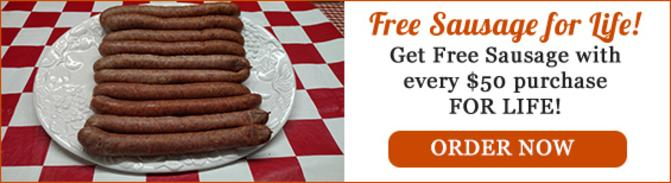 Free Johnston's Homemade Sausage for Life!