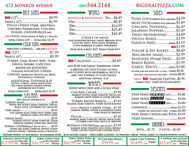 Big Deal Pizzeria & Grill Menu Back