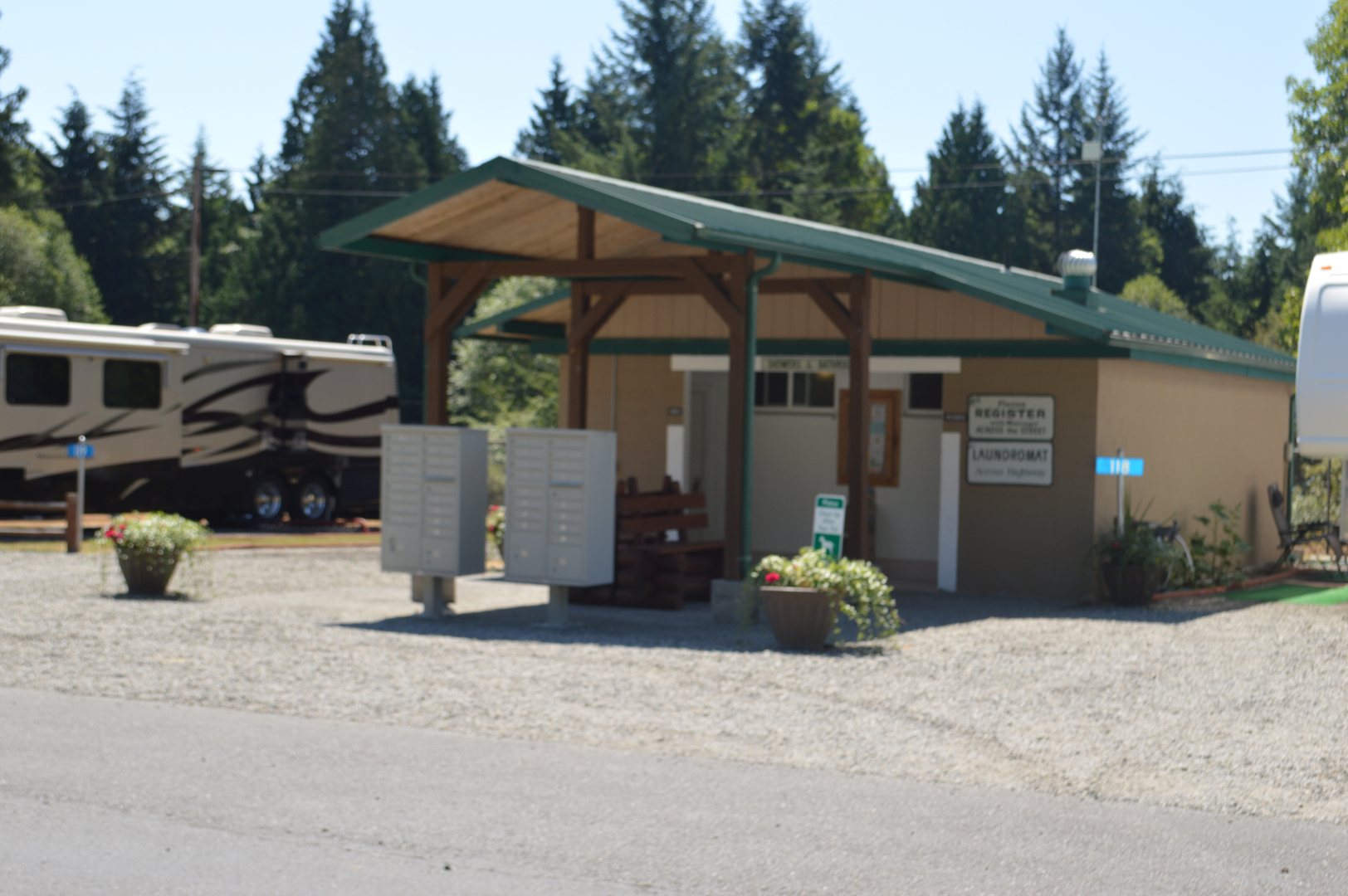 Rv Park Amenities 50 Amp Service For 30 Large Grassy Lots Postal Boxes On Site Host During Peak Season Big Rig Friendly