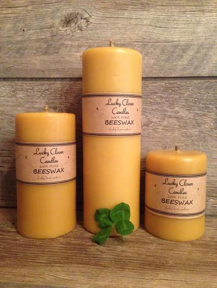 pure Beeswax Candles Lucky Clover Candles smooth pillar hand made in Ontario