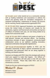 20th Anniversary Message for Sponsorship