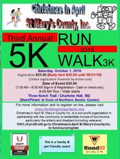 Christmas in April 3rd Annual 5k Run/3k Walk Event Flyer