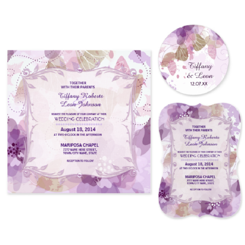 Watercolor Blossoms Purple Wedding Collection