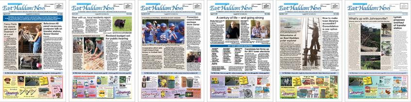 Front pages of several issues of the East Haddam News