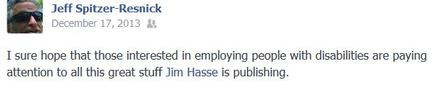 Facebook endorsement by an attorney of Jim Hasse writings.
